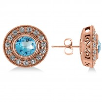 Blue Topaz & Diamond Halo Round Earrings 14k Rose Gold (3.62ct)