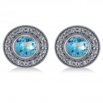 Blue Topaz & Diamond Halo Round Earrings 14k White Gold (3.62ct)