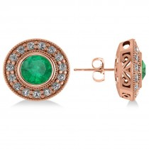 Emerald & Diamond Halo Round Earrings 14k Rose Gold (3.42ct)