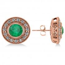Emerald & Diamond Halo Round Earrings 14k Rose Gold (3.42ct)