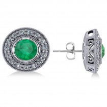 Emerald & Diamond Halo Round Earrings 14k White Gold (3.42ct)