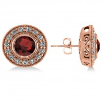 Garnet & Diamond Halo Round Earrings 14k Rose Gold (3.70ct)