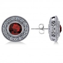 Garnet & Diamond Halo Round Earrings 14k White Gold (3.70ct)
