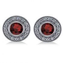 Garnet & Diamond Halo Round Earrings 14k White Gold (3.70ct)