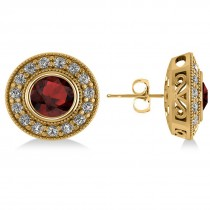 Garnet & Diamond Halo Round Earrings 14k Yellow Gold (3.70ct)