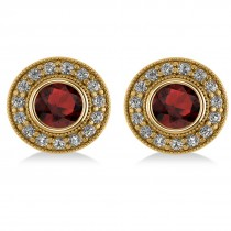 Garnet & Diamond Halo Round Earrings 14k Yellow Gold (3.70ct)
