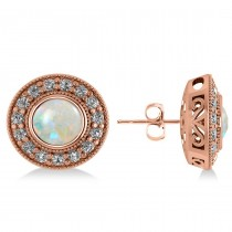Opal & Diamond Halo Round Earrings 14k Rose Gold (2.40ct)