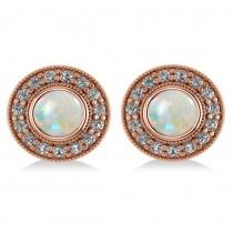 Opal & Diamond Halo Round Earrings 14k Rose Gold (2.40ct)