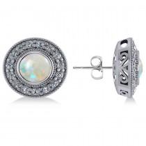 Opal & Diamond Halo Round Earrings 14k White Gold (2.40ct)