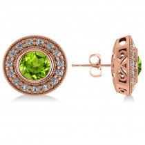 Peridot & Diamond Halo Round Earrings 14k Rose Gold (3.12ct)