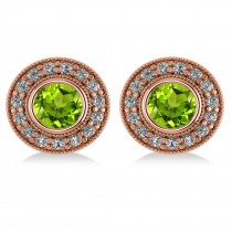 Peridot & Diamond Halo Round Earrings 14k Rose Gold (3.12ct)
