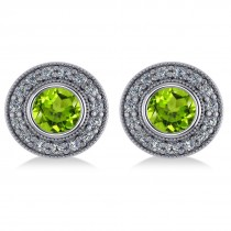 Peridot & Diamond Halo Round Earrings 14k White Gold (3.12ct)|escape