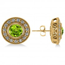 Peridot & Diamond Halo Round Earrings 14k Yellow Gold (3.12ct)