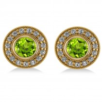 Peridot & Diamond Halo Round Earrings 14k Yellow Gold (3.12ct)