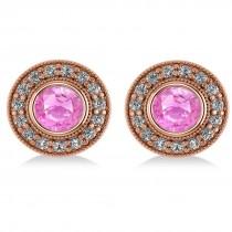Pink Sapphire & Diamond Halo Round Earrings 14k Rose Gold (3.72ct)