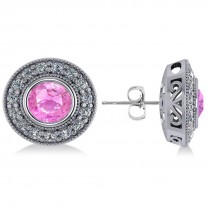 Pink Sapphire & Diamond Halo Round Earrings 14k White Gold (3.72ct)