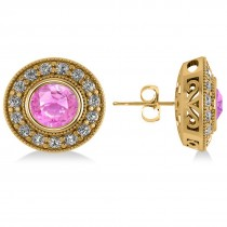 Pink Sapphire & Diamond Halo Round Earrings 14k Yellow Gold (3.72ct)