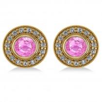 Pink Sapphire & Diamond Halo Round Earrings 14k Yellow Gold (3.72ct)