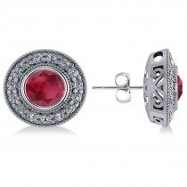 Ruby & Diamond Halo Round Earrings 14k White Gold (3.72ct)
