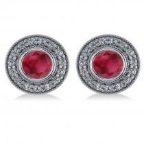 Ruby & Diamond Halo Round Earrings 14k White Gold (3.72ct)