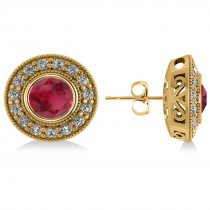 Ruby & Diamond Halo Round Earrings 14k Yellow Gold (3.72ct)