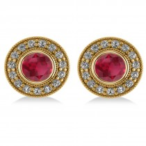 Ruby & Diamond Halo Round Earrings 14k Yellow Gold (3.72ct)|escape