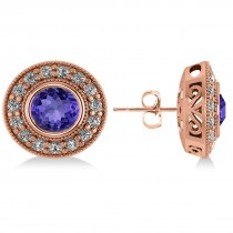 Tanzanite & Diamond Halo Round Earrings 14k Rose Gold (3.72ct)