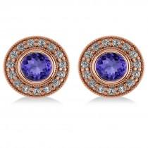 Tanzanite & Diamond Halo Round Earrings 14k Rose Gold (3.72ct)