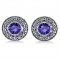Tanzanite & Diamond Halo Round Earrings 14k White Gold (3.72ct)