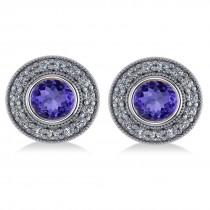 Tanzanite & Diamond Halo Round Earrings 14k White Gold (3.72ct)|escape