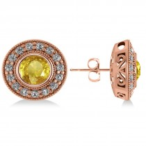 Yellow Sapphire & Diamond Halo Round Earrings 14k Rose Gold (3.72ct)