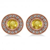 Yellow Sapphire & Diamond Halo Round Earrings 14k Rose Gold (3.72ct)