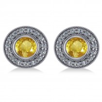 Yellow Sapphire & Diamond Halo Round Earrings 14k White Gold (3.72ct)