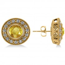 Yellow Sapphire & Diamond Halo Round Earrings 14k Yellow Gold (3.72ct)
