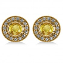 Yellow Sapphire & Diamond Halo Round Earrings 14k Yellow Gold (3.72ct)