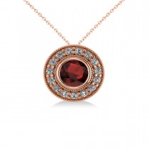Round Garnet & Diamond Halo Pendant Necklace 14k Rose Gold (1.85ct)