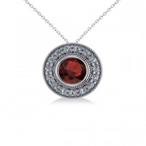 Round Garnet & Diamond Halo Pendant Necklace 14k White Gold (1.85ct)