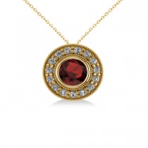 Round Garnet & Diamond Halo Pendant Necklace 14k Yellow Gold (1.85ct)
