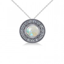 Round Opal & Diamond Halo Pendant Necklace 14k White Gold (1.20ct)