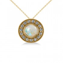 Round Opal & Diamond Halo Pendant Necklace 14k Yellow Gold (1.20ct)