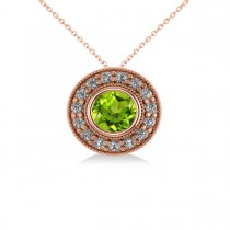 Round Peridot & Diamond Halo Pendant Necklace 14k Rose Gold (1.56ct)