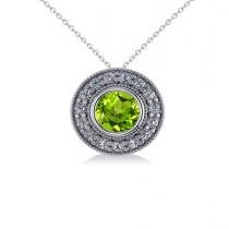 Round Peridot & Diamond Halo Pendant Necklace 14k White Gold (1.56ct)