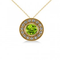 Round Peridot & Diamond Halo Pendant Necklace 14k Yellow Gold (1.56ct)