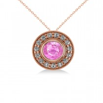 Round Pink Sapphire & Diamond Halo Pendant Necklace 14k Rose Gold (1.86ct)