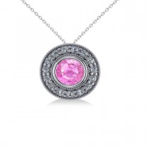 Round Pink Sapphire & Diamond Halo Pendant Necklace 14k White Gold (1.86ct)