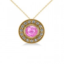 Round Pink Sapphire & Diamond Halo Pendant Necklace 14k Yellow Gold (1.86ct)