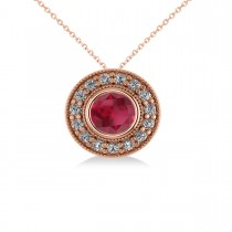 Round Ruby & Diamond Halo Pendant Necklace 14k Rose Gold (1.86ct)