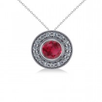 Round Ruby & Diamond Halo Pendant Necklace 14k White Gold (1.86ct)