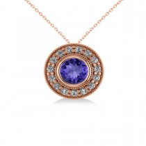 Round Tanzanite & Diamond Halo Pendant Necklace 14k Rose Gold (1.86ct)