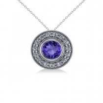 Round Tanzanite & Diamond Halo Pendant Necklace 14k White Gold (1.86ct)